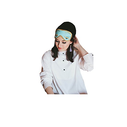 Audrey Hepburn-The Breakfast at Tiffany's Complete Holly Golightly Sleep Set Tuxedo Shirt Silk Eye Mask Tassel Earrings