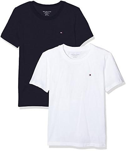 Tommy Hilfiger Jungen T-Shirt Cotton Cn Tee Ss Icon 2 Pack, 2 Mehrfarbig (White/Navy Blazer 103), 152 (Herstellergröße: 10-12)