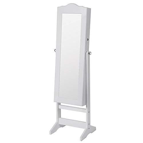 Schmuckschrank mit Spiegel - 40,9 x 142 x 36,5 cm, mit abschließbarer Spiegeltür, Haken für Ketten,Ohring - Spiegelschrank, Standspiegel, Schmuckregal Schmuckkommode, Schmuckaufbewahrun