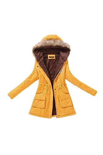 Casual capuche laine vêtements manteau des femmes avec fourrure yellow