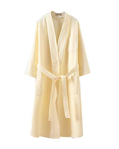 LaoZanA Señoras Robe Albornoz Mujeres Absorbente Shawl Towel Baño Abrigo Amarillo M
