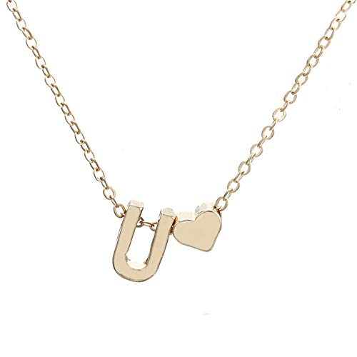 Fashion Cute Heart Letter Choker Chain Pendant Lady Necklace Jewelry(Glod U) ()