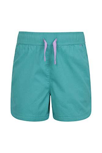 Mountain Warehouse Waterfall Shorts für Mädchen - Baumwollshorts, Kinder Kurze Hose, atmungsaktive Urlaubsshorts, Pflegeleichte Hose - Lässige Kleidung für die Reise Blaugrün 164 (13 Jahre)