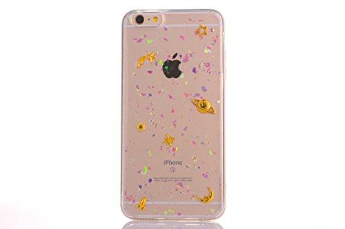 CrazyLemon pour iPhone 6 Plus/iPhone 6S Plus Housse étui, Vernis Souple TPU Silicone Gel Caoutchouc Peau Imprimé 3D Mignon Motif Conception Coque pour iPhone 6S Plus / 6 Plus - Star et la planète