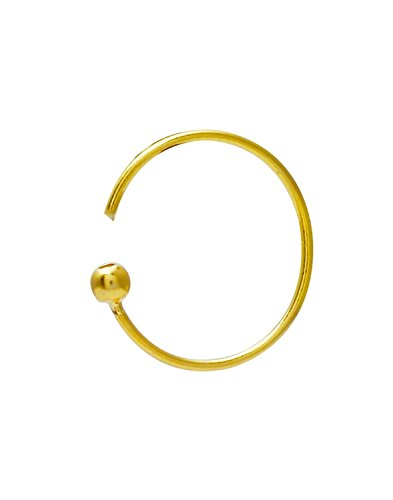 Eloish Classic Simple Plain Gold Ball Nose Ring. Ball Plain Shinny Gold Nose Ring.