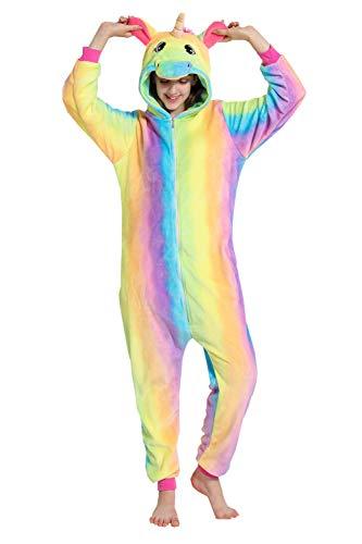 Erwachsene Unisex Einhorn Tiger Lion Fox Onesie Tier Schlafanzug Cosplay Pyjamas Halloween Karneval Kostüm Loungewear (Einhorn Regenbogen, S passt Höhe - Miss Regenbogen Kostüm