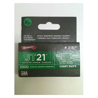 Arrow Fastener Jt21 T27 8Mm 5/16Inch Staples Box Of 1000 #215