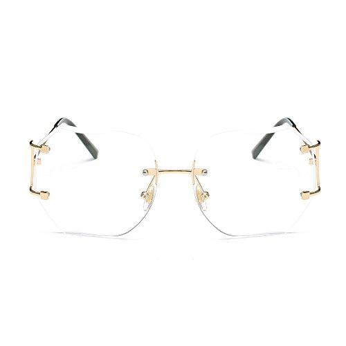 WooCo Beförderung! Randlose Reise-Sonnenbrille für Herren Damen, Flieger Spiegel Flache Linse Metallrahmen Vintage Retro Quadrat Farbverlauf Polarisierte Sonnenbrille Unisex(Weiß,One size)