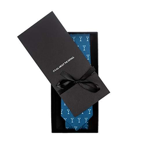 MAKERSONS Martini gemustert Blau Handgefertigt Schlips Neuheit lässig Arbeit Krawatte