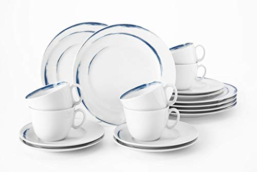 0.21 litros Taza Plato de Desayuno Set para 6 Personas Servicio Incluye Cada 6 Cena Serie Rondo Blanco Sopa Porcelana platillo de caf/é Seltmann Weiden Liane Combinado 30 Piezas