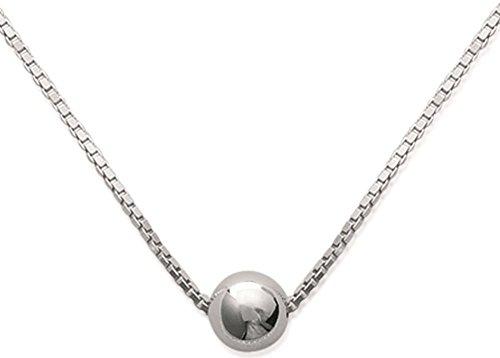 Halskette aus Sterling-Silber 925/000–Kette mit Anhänger: mit Kugel, versilberte Perle –6mm–Schmuck für Damen