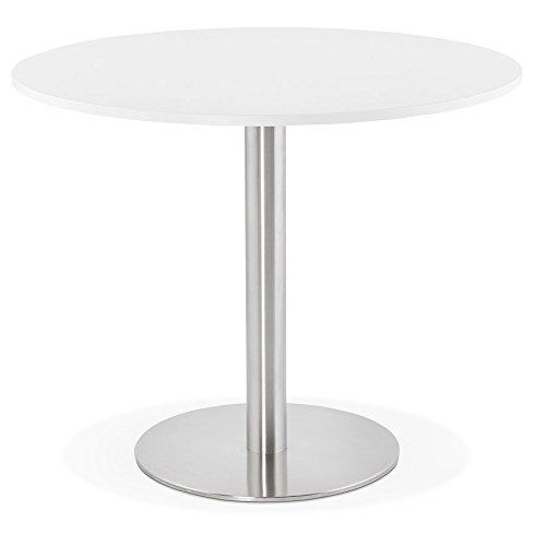 Alterego - Petite Table de Bureau/à Diner Ronde 'Dallas' Blanche - Ø 90 cm