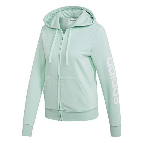 adidas Essentials Linear Full Zip Hoodie Hooded Track Top, Damen XS Mint/Weiß (Clear Mint/White) Zip-hoodie-top