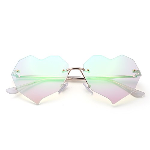 JIM HALO Herz Randlos Sonnenbrille Klar Flach Linsen Designer Brille Damen mit Nieten(Gold/Kristallgrün)
