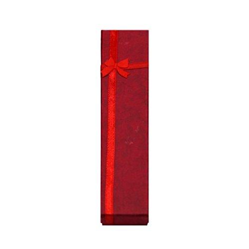 IMHERE W U Halskette Schmuck Armband Prägung Schleife Geschenk Box, rot, 21 * 4.3 * 2cm / 8,26
