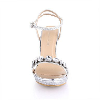 LvYuan Da donna-Sandali-Matrimonio Formale Serata e festa-Comoda-A stiletto-PU (Poliuretano)-Argento Dorato Silver