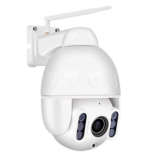 Dericam 1080P PTZ IP Dome Kamera WLAN, Mini Überwachungskamera Outdoor, Zwei-Wege-Audio, 4X Optischer Zoom, IR-Nachtsich, Wasserfest, Bewegungsmelder, Externer SD-Kartensteckplatz