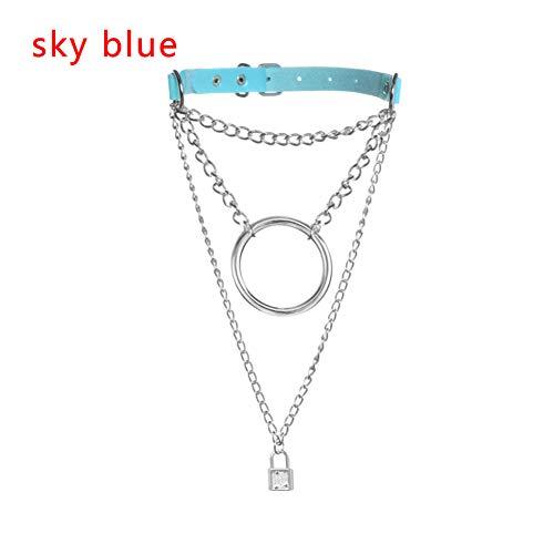 FyaWTM Halskette Choker Handgemachte Kette Choker Halskette Runde Kreis Lock Anhänger Metall Leder Kragen Schmuck -