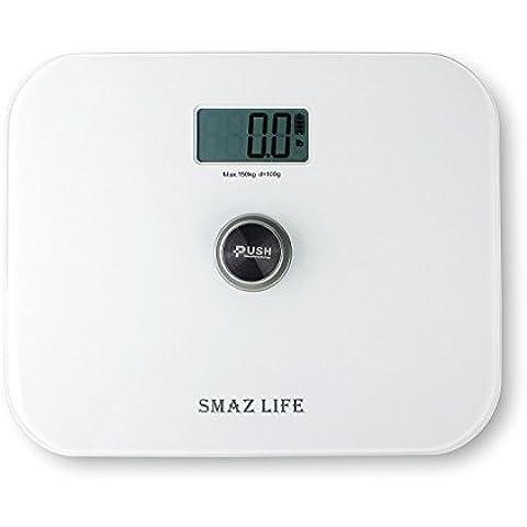 SMAZ LIFE Báscula de baño digital Battery free precisión cuerpo personal escala con Extra Slim cristal templado y LCD display digital / baño / peso / fitness / hotel