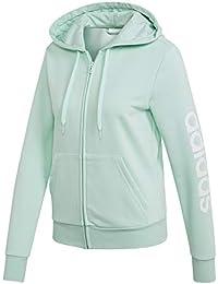 a71812154f33 adidas Essentials Linear Full Zip Hoodie, Felpa con Cappuccio Donna, Clear  Mint/Bianco