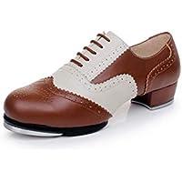 WENDYWU Zapatos de Baile, tacón bajo, de PVC, con tacón, Zapatos Stepdance, 1, EU41