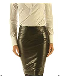 Leatherotics Full Grain Leather Sheath Office Skirt Tight Fit Sexy Black Unique Design SK17