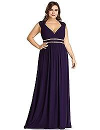 567ea32e8ad Ever-Pretty Col V Robe de Soirée Longue Femme Grande Taille Empire Cérémonie