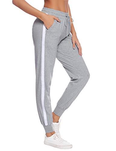 Aibrou Damen Jogginghose Sporthose Freizeit Hose Baumwolle Lang für Jogging Laufen Fitness Traininghose mit Streifen Grau-2 XL