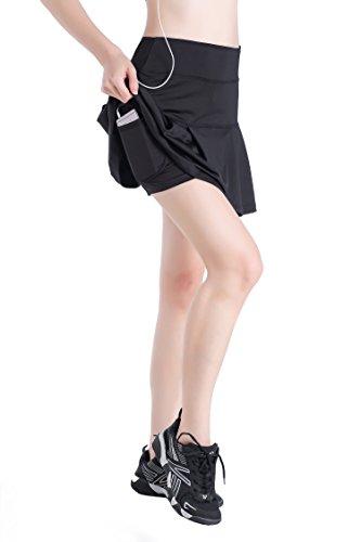 EAST HONG Women's Pocket Pleated Skort Athletic Mini Skirts Casual Skater Skirt with Inner Shorts