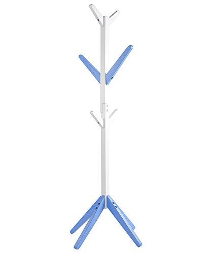 QiangDa Porte-manteau De Sol Porte-vêtements pour enfants Bois massif Avec 6 crochets, 150cm de hauteur 2 couleurs Facultatif (Couleur : Bleu)