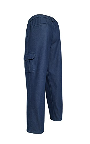 Herren Thermojeans, Thermo Stretch Schlupfjeans Schlupfhose, Winter Cargo Pants Blue