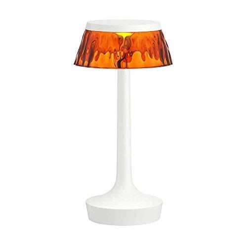 Flos Bon Jour Unplugged Lampe de table portable rechargeable avec structure blanche et abat-jour ambre 220 Volt