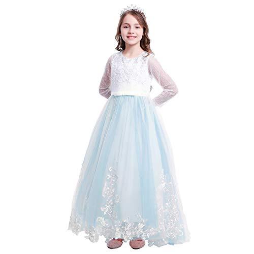 OBEEII Mädchen Kinder Kleid Spitze Tüllkleid Tutu Prinzessin Partykleid Hochzeit Brautjungfern Blumenmädchen Kleid Abendkleid Kommunionkleid Geburtstag Festkleid 6-7 Jahre