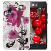 Alcoa Prime Purple Flower Pattern Plastic Case for LG Optimus L5 II / E455