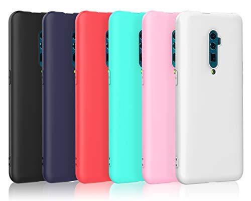 VGUARD [6 Stücke Hülle für Oppo Reno 5G / Oppo Reno 10x Zoom, Ultra Dünn Tasche Schutzhülle Weiche TPU Silikon Gel Handyhülle Case Cover (Schwarz + Blau + Rot + Grün + Rosa + Transparent)