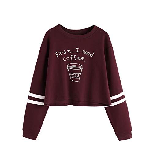 99f29a8b452b Mujer Sudaderas Cortas,Fossen Letra 'First i Need a Coffee 'Manga Larga  Camiseta