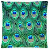 Popular Peacock Lots Of Feathers Pattern Zippered Pillow Case Decor Cushion Covers Square 16