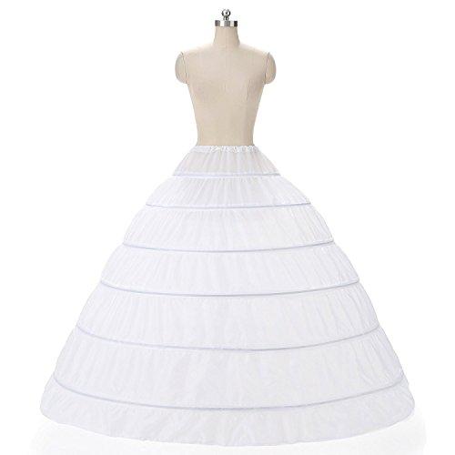 Damen Lang Reifrock Hochzeit 6 Hoop Unterrock Crinoline Petticoat Fuer Abendkleider Ballkleider...