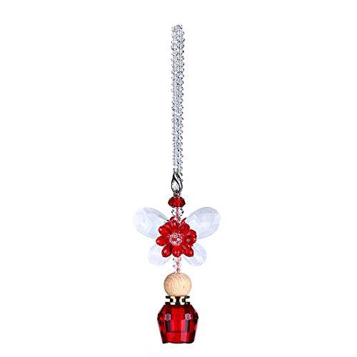H & D Kristall mit Parfum abfüllers Anhänger KFZ Zubehör Aufhängen Dekoration Geschenk für Frauen (Schmetterling & Parfüm Flasche)