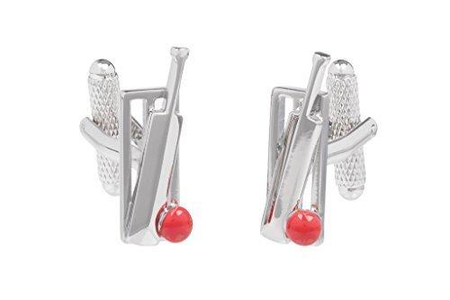 Roter Cricket-Schläger und Ball Wicket-Manschettenknöpfe Onyx Art Box geliefert