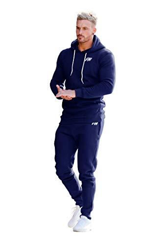 Aspire Wear Herren Marineblauer Trainingsanzug-Kapuzenpullover und -Tops - Fitness- und Fitness-Trainingsanzug Blau Active Sport Stretch Slim Fit Top mit Jogger (M)