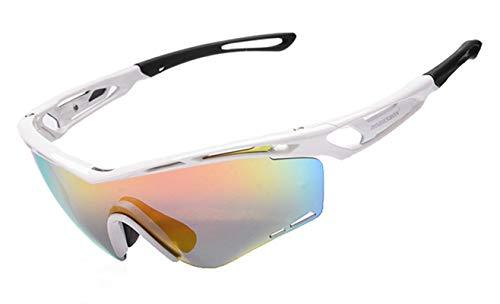 Amody Brille Draussen Männer Frauen Sport Anti-Sand Polarisierte Brille ReitBrille Weiß