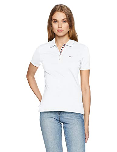 Tommy Jeans Damen ORIGINAL BASIC POLO Kurzarm  Polo Shirt Weiß (Classic White 100) Medium - Frauen Polo-shirts