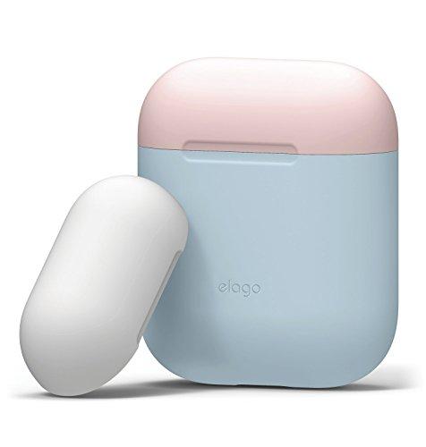 elago Duo Silikonhülle kompatibel mit Apple AirPods - [2 Caps & 1 Body] [Stoßfeste Schutzhülle] [Perfekt Passt Hülle] - für Apple AirPods Aufladen Case (Body-Pastellblau/Top-Rosa, Weiß)