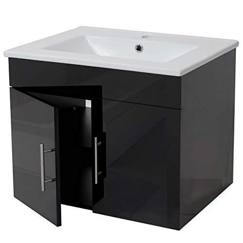 Mendler Waschbecken + Unterschrank HWC-D16, Waschbecken Waschtisch, Hochglanz 60cm ~ schwarz