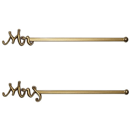 ROYER 15,2 cm Kunststoff Mr. & Mrs. Hochzeit löffelstäbchen, Drink-Stirrer, Set 48 - Made in USA, plastik, gold, 6 inches