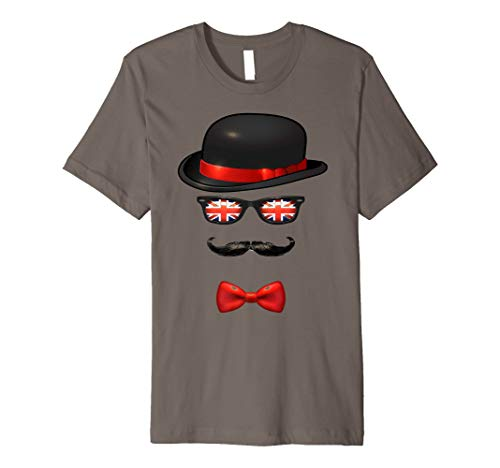 British Schnurrbart Shirt England UK Union Jack Sonnenbrille