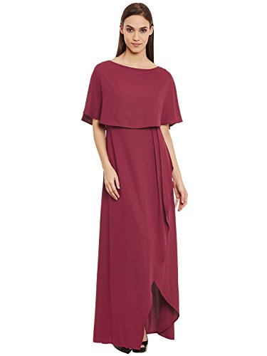 Femella Fashion's Maroon Front Slit Maxi Dress( DS-2171124-1336-MAR-M )