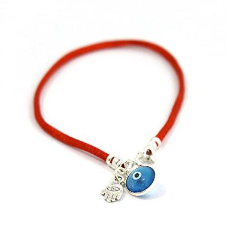 Pulsera de cadena con amuleto con la mano de Fátima, para proteger contra el mal de ojo, cadena de plata para hombres, 20cm.