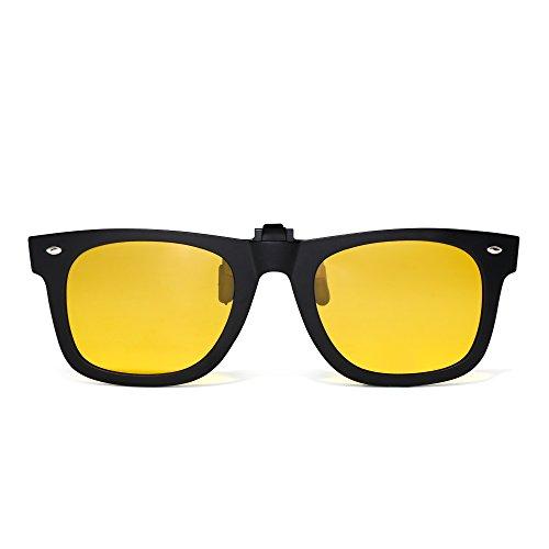 JIM HALO Polarisiert Clip auf sonnenbrille Flip up Gespiegelt Brille Damen Herren(Matt-schwarz/Polarisiertes Gelb)